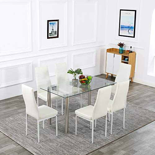 Bonnlo 7 Pieces Dining Table Set Kitchen Dinner Table with 6 Chairs Dining Room Table Set for Dinig Room, Kitchen, Dinette Glass Tabletop with 6 PU Leather Metal Chairs, Clear&White