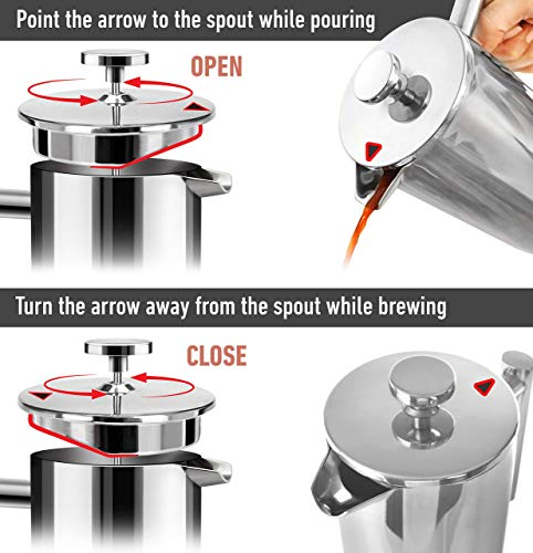 Mueller French Press Double Insulated 310 Stainless Steel Coffee Maker 4 Level Filtration System, No Coffee Grounds, Rust-Free, Dishwasher Safe 6