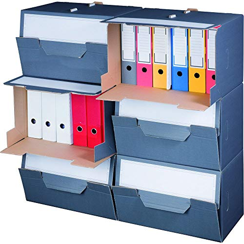 karton-billiger Archivbox für Ordner mit Frontklappe für bis zu 6 Ordner 10 Stück