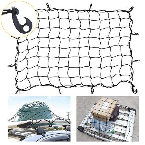 47'x 32' Bungee Cargo net Stretches to 70'x 52' | Small 3.15'x3.15' Mesh Squares, 10 Adjustable Hooks | for Rooftop Cargo Carrier, ATV, UTV, Cargo Hitch