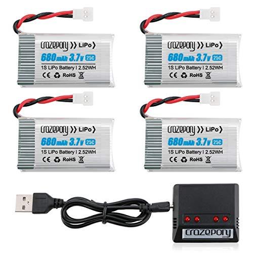 1S 3,7V Lipo Drone Lipo Batteria 680mAh per Syma X5 X5C X5C-1 X5SW X5SW-V3 UDI UFO 3000 SNAPTAIN S5C FQ36 MJX X708 X708W...