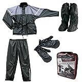 Roleff Racewear Juego de Chaqueta y Pantalón Impermeables 4 Piezas, Negro/Gris, XXL