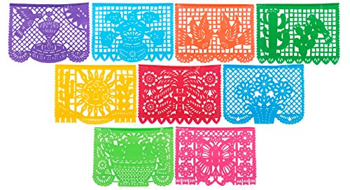 CalMex Large PLASTIC Mexican Papel Picado Banner (15 Feet Long) Designs as Pictured by CalMex Marketplace