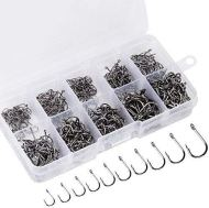 ReeMoo 500PCS Premium Fishhooks, 10 Sizes Carbon Steel Fishing Hooks W/Portable Plastic Box, Strong Sharp Fish Hook with Barbs for Freshwater/Seawater