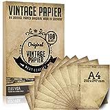 100 morceaux de papier à lettre vintage A4 100g / qm avec 5 feuilles de papier...