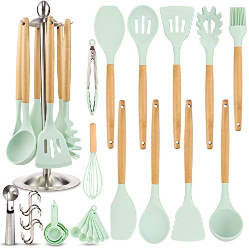 Silicone Kitchen Cooking Utensil Set, EAGMAK 16PCS Kitchen Utensils Spatula Set with Stainless Steel Stand for...