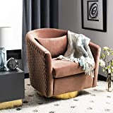Safavieh Couture Home Clara Glam Dusty Rose Pink Velvet Quilted Swivel Tub Chair