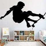 wZUN Skateboarder Stunt Etiqueta de la Pared Gimnasio Art Deco Vinilo Pared calcomanía decoración del hogar niño Dormitorio 85X49cm