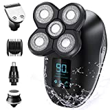 Electric Shaver for Men, OriHea 5 in 1 Head Shavers for Bald Men Electric Rotary Razor Beard Trimmer Grooming Kit IPX7-Waterproof, Faster-Charging LED Display USB Rechargeable
