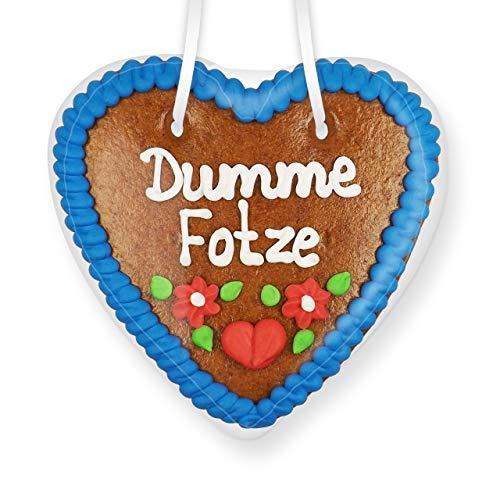 Lebkuchenherz 14cm - Dumme Fotze | Lustige Scherzartikel Idee | Scherzgeschenke & Spaßartikel | Scherzartikel für Party | Lustige Party Mitbringsel | Essbare Scherzartikel | Witzige Geschenkideen