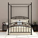Full Size Metal Canopy Bed Frame with Headboard and Footboard Sturdy Black Steel Holds 660lbs Perfectly Fits Your Mattress Easy DIY Assembly All Parts Include (Black, Full)