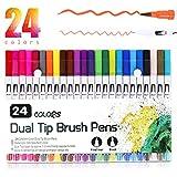 Feutres de Coloriage, Vakki Stylos Double Pointe, Feutre pinceau 24 Couleurs avec Stylos Pointe Fine 0.4mm pour Dessin, Bullet Journal, Mandalas, Calligraphie etc.