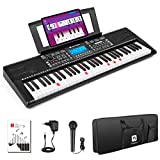 Vangoa VGK6200 Piano Keyboard, 61 Light Up Keys Electric Piano with Midi Port, Smart LCD Display, 3 Teaching Modes, 40 Demo Songs, Microphone, Gig Bag for Beginners Adults Kids