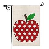 AVOIN Polka Dot Apple Garden Flag Double Sided, Back to School First Day of School Teacher Appreciation Rustic Farmhouse Yard Outdoor Decoration 12.5 x 18 Inch