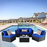 Outime Patio Furniture Rattan Sofa Black Wicker Couch Set Garden Outside Sectional Seating Home Furniture w/Coffee Table Royal Blue Cushion 5pcs