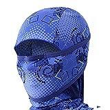 Outdoor Motorcycle Full Face Mask Balaclava Ski Neck Protection Clothing Neck Gaiter Bandana, Lightweight & Breathable Hiking, Fishing Mask, (Dot-Blue)