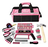 APOLLO TOOLS 201 Piece Home Tool Set, Pink Tool Set Includes Hacksaw, Picture Hanging Assortment, and Selection of Most Needed Tools in Sturdy Tool Bag -Pink Ribbon- DT0020P