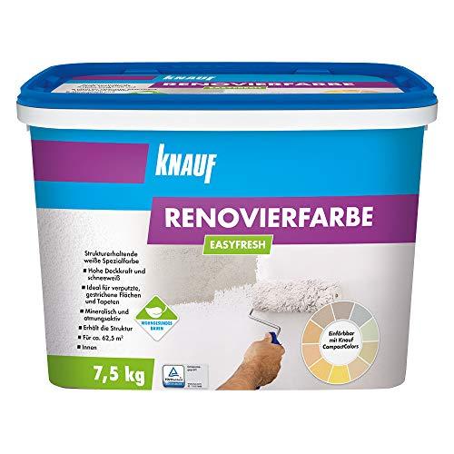 Knauf 4006379080564 EASYFRESH, mineralische, strukturerhaltende Renovierfarbe in schneeweiß, stumpfmatt, hochdeckend und abriebfest, gebrauchfertig, lösemittelfrei, emmissionsarm, Weiß, 7.5 kg