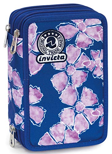 Astuccio 3 Zip Invicta Pansy, Blu, Con materiale scolastico: 18 pennarelli Giotto Turbo Color, 18...