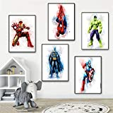 QZROOM Affiches et Impressions Marvel Super-héros Aquarelle Photos sur Le Mur...