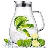 susteas Carafe en Verre de 2 litres avec Couvercle et Bec verseur, Carafe d'eau,...