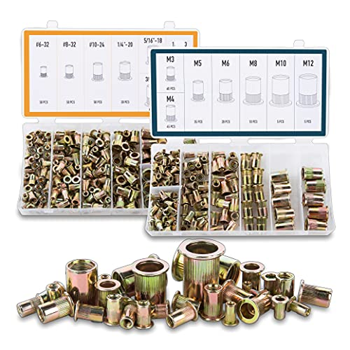 CO-Z SAE + Metric Rivet Nut Kit, 380pcs Rivnuts Nutserts Assortment, 14 Sizes Standard #6 to 1/2 inch and M3 to M12 mm