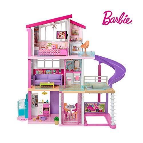 Barbie FHY73 - Traumvilla Dreamhouse Adventures Puppenhaus mit 3 Etagen, 8 Zimmer, Pool mit Rutsche und Zubehör, ca. 116 cm hoch, mit Lichter und Geräuschen, Spielzeug ab 3 Jahren