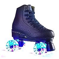 フラッシュダブルホイールクワッドローラースケートシューズフラッシュローラースケートシューズグローイングローラースケートスニーカーガールズボーイズ&キッズ