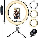 Ringlicht, TVLIVE 10,2 Zoll Ringleuchte mit Stativ, Selfie licht mit 3500K-6500K Dimmbare Bluetooth-Empfänger 3 Lichtfarben und 10 Helligkeitsstufen für Youtuber live Streaming TikTok Schminken