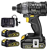 TECCPO Impact Driver, Cordless Impact Driver 18V, 180Nm High Torque, 2x 2.0Ah Batteries, 30 min Fast Charge with 4.0A Charger, 2900RPM Max Speed and 4000BPM, Variable Speed and 6.35mm Quick Chuck