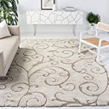 Safavieh Florida Shag Collection SG455-1113 Scrolling Vine Graceful Swirl Textured 1.18-inch Thick Area Rug, 8' 6' x 12', Cream/Beige