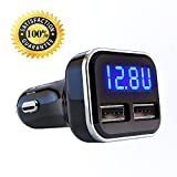 Jebsens 4.8A 24W Dual USB Car Charger Volt Meter Car Battery Monitor with LED Voltage & Amps Display, for iPhone 7 / 6s / Plus, iPad Pro/Air 2 / Mini, Galaxy S7 / S6 / Edge/Plus, Note 5/4