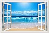 Naturaleza Paisaje Sol Playa Olas Azul Mar Cielo Nubes Vista de la ventana 3D Paisaje Etiqueta de la pared PVC Art Decal Wallpaper Dormitorio Sala de estar Decoración para el hogar Mural