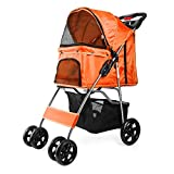 Flexzion Pet Stroller (Orange) Dog Cat Small Animals Carrier Cage 4 Wheels Folding Flexible Easy to Carry for Jogger Jogging Walking Travel Up to 30 Pounds with Rain Cover Cup Holder Mesh Window