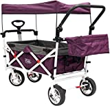 Creative Outdoor Distributor Push Pull Collapsible Folding Wagon Stroller for Kids, with Canopy (Purple)