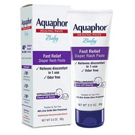 Aquaphor Baby Diaper Rash Paste – Fast Relief For Troublesome Diaper Rash and Flare-ups – 3.5 Oz. Tube