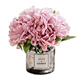 Billibobbi ,Artificial Flowers with Vase, Fake Peony Flowers in Gray Vase,Faux Flower Arrangements for Home Decor,Light Lilac,Small