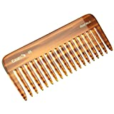 Giorgio G49 5 3/4' Hand Made Tortoiseshell Detangling Comb - Wide Teeth, Hand-Made of quality Durable Cellulose, Saw-cut and Hand Polished (1 Pack, Tortoiseshell)