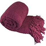 Home Soft Things Knitted Tweed Throw Couch Cover Blanket, 60' x 80', Crushed Berry