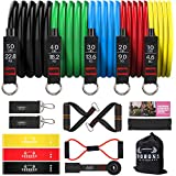 Resistance Bands Set, Including 5 Stackable Exercise Bands with Door Anchor, 2 Ankle Straps - for Resistance Training, Physical Therapy, Home Workouts, Yoga