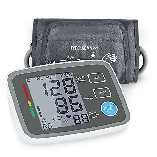 Blood Pressure Monitor Cuff Arm Automatic Blood Pressure Machine with Adjustable Size Fits All Cuff, Accurate Measuring for Blood Pressure and Heartbeats - FDA Approved