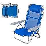Aktive 62608 - Silla de playa 5 posiciones con cabezal 60 x 78 x 108 cm Beach