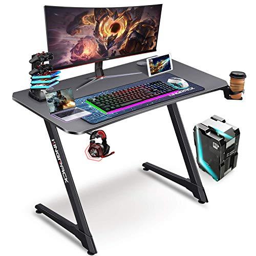 KINGRACK Gaming Tisch 110 cm Z Form, Groß Gaming Schreibtisch for PC Ergonomischer Gamer Tisch, Schwarz Computertisch mit Getränkehalter und Kopfhöreranschluss WK920007