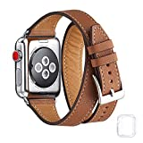 Bestig Band Compatible for Apple Watch 38mm 40mm 42mm 44mm, Genuine Leather Double Tour Designed...