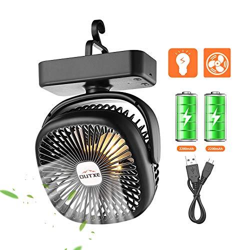 OUTXE Camping Ventilator mit Nachtlicht für Zelte USB...