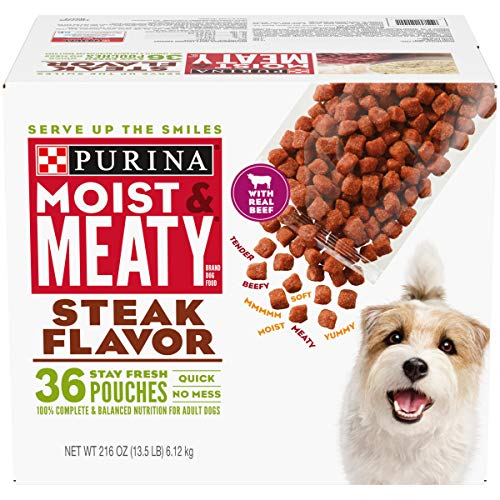 Purina Moist & Meaty Wet Dog Food, Steak Flavor -...