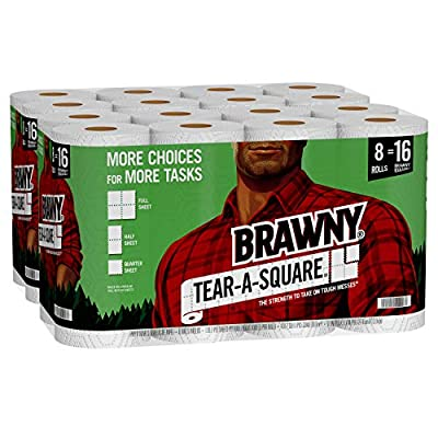 Brawny Tear-A-Square Paper Towels offer three sheet sizes (Quarter, Half, & Full) so you can use just what you need without the waste Each 2-ply Double Roll has 128 sheets and is equal to 2 regular rolls Unique quarter-sheet option for smaller tasks ...