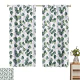 Mozenou Leaf, Window Curtain Fabric, Watercolor Style Pattern with Silver Dollar Eucalyptus Leaves and Branches, Drapes for Living Room Green Pale Brown White