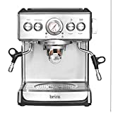 Brim 19 Bar Espresso Machine, Fast Heating Cappuccino, Americano, Latte and Espresso Maker, Milk Steamer and Frother, Removable Parts for Easy Cleaning, Stainless Steel with Wood Accents