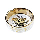 YOSCO 4'' Ceramic Titanium Plating Tabletop Ashtray,Cigarette Ashtray for Indoor or Outdoor Use, Desktop Smoking Ash Tray for Home Office Decoration (4'')